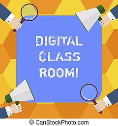 letra, texto, digital, classe, room., conceito, significado, onde, estudante, aprendizagem, e, interação, com, instrutor, hu, análise, mãos, cada, segurando, lupa, e, megafone, ligado, 4, corners.