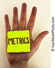 letra, texto, escrita, metrics., conceito, significado, método, de, medindo, algo, estudo, poético, metros, jogo, de, números, escrito, ligado, nota pegajosa, papel, colocado, ligado, passe, a, planície, experiência.