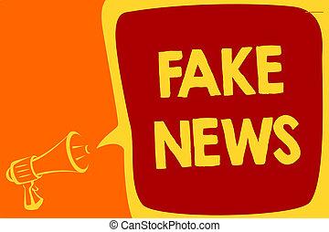 letra, texto, fraude, news., conceito, significado, dar, informação, para, pessoas, que, é, não, verdadeiro, por, meios, megafone, alto-falante, borbulho fala, importante, mensagem, falando, loud.