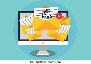 letra, texto, fraude, news., conceito, significado, dar, informação, para, pessoas, que, é, não, verdadeiro, por, meios, computador, recebendo, email, importante, mensagens, envelopes, com, papeis, virtual.