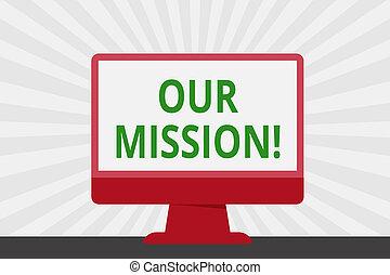 letra, texto, nosso, mission., conceito, significado, serve, como, claro, guia, para, escolher, corrente, e, futuro, metas, espaço branco, computador desktop, coloridos, monitor, tela, freestanding, ligado, tabela.