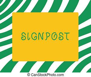 letra, texto, signpost., conceito, significado, sinal, dar, informação, tal, direção, e, distância, perto, cidade