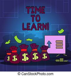 letra, texto, tempo, para, learn., conceito, significado, obter, novo, conhecimento, ou, habilidade, educacional, ou, carreira, growth.