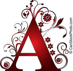 letra, vermelho, capital