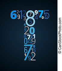 letra, vetorial, t, fonte, números