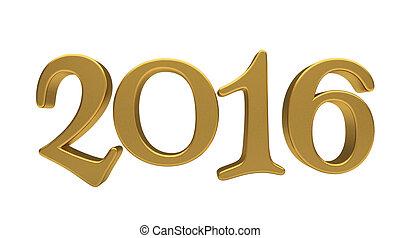 letras, 2016, aislado, oro