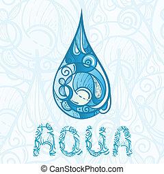 letras, abstratos, gota, aqua, mão, água, desenhado