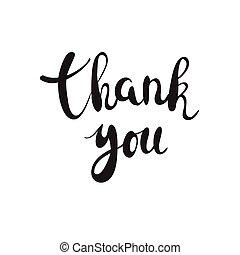 letras, agradecer, ilustración, brushpen, fondo., vector, negro, frase, usted, caligrafía, blanco, manuscrito
