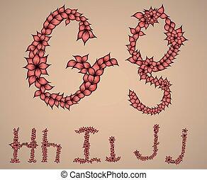 letras, alfabeto, j, i, h, g