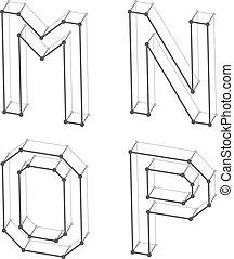 letras, alfabeto, wireframe, m, este prego, n, p, fonte