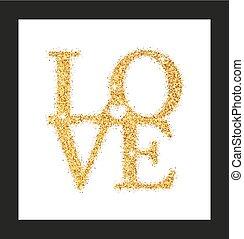 letras, amor, con, corazón