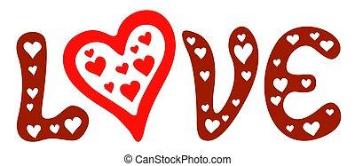letras, amor, con, corazones