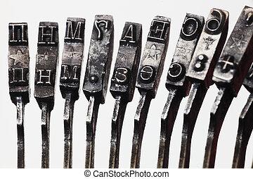 letras, antigas, máquina escrever