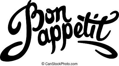 letras, appetit, mano, bon, dibujado