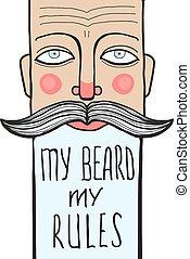 letras, barbudo, lema, arrugado, retrato, hombre