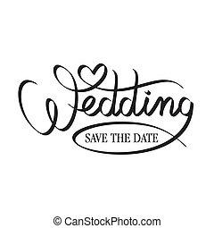 letras, boda, mano