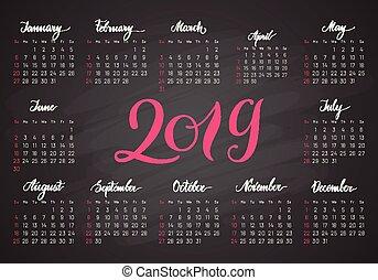 letras, bolsillo, oscuridad, calendario, colores, 2019