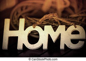 letras, branca, palavra, lar