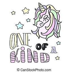 letras, cabeza, clase, uno, plano de fondo, unicornio, blanco