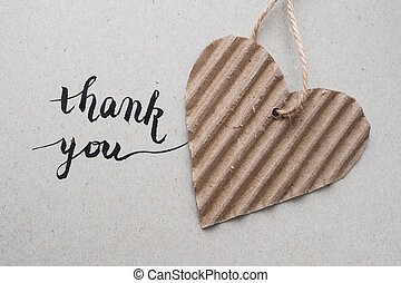 letras, caligrafía, corazón, hechaa mano, -, mano, papel, 'thank, kraft, you'