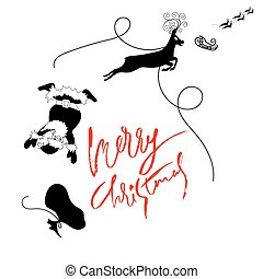 letras, chtistmas, illustration., reindeer., claus, sleigh, ...