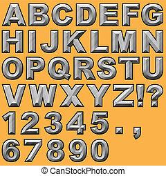 letras, cinzelado, bloco