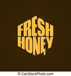 letras, comp, miel, fondo., logotipo, fresco, design.