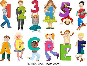 letras, conjunto, carta, número, niña, fuente, niños, abc, ...