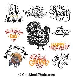 letras, conjunto, collectio, acción de gracias, mano, día,...