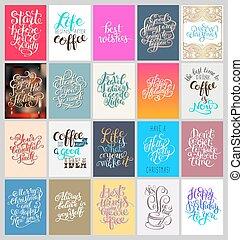 letras, conjunto, de motivación, mano, carteles, caligrafía