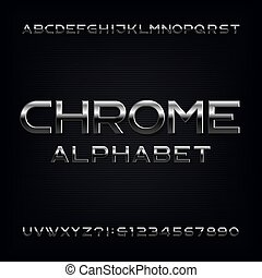 letras, cromo, alfabeto, efeito, metálico, numbers., font.
