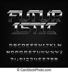 letras, cromo, alfabeto, metal, numbers., font., chanfrado, futurista