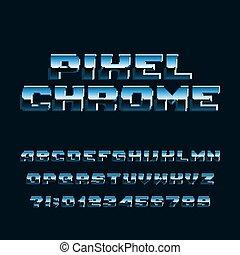 letras, cromo, alfabeto, numbers., font., digital, pixel