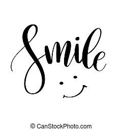 letras, dibujado, cita, smile., moderno, tipografía, tela,...