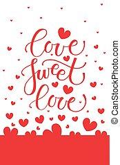 letras, dulce, amor, tipografía, cartel