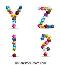 letras, e, sinais, feito, de, blocos coloridos
