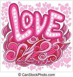 letras, elementos, amor, mano, corazones, doodles
