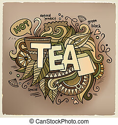letras, elementos, doodles, mano, té