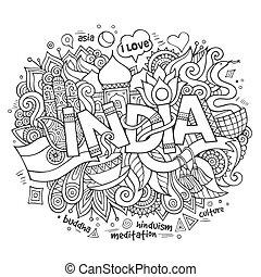 letras, elementos, india, mano, plano de fondo, doodles