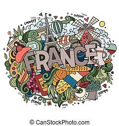 letras, elementos, país, francia, doodles, mano