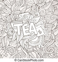 letras, elementos, té, mano, fondo., doodles