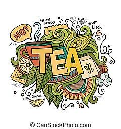 letras, elementos, té, mano, plano de fondo, doodles