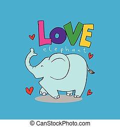 letras, elephant., amor, caricatura, animal