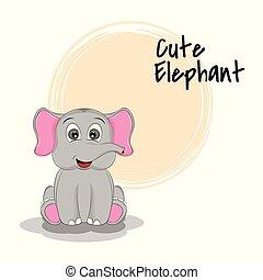 letras, elephant., caricatura, animal, lindo