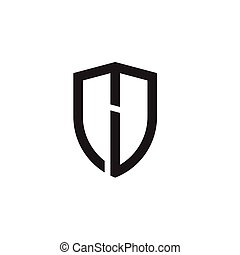 letras, escudo, inicial, forma, logotipo, linha
