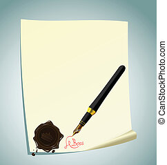 letras, estampilla, ilustración, papel, cera, hand-draw