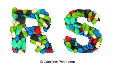letras, farmácia, s, r, fonte, pílulas