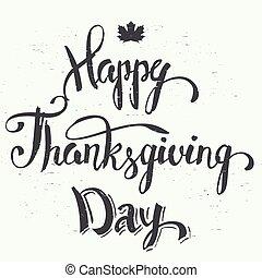 letras, feliz, acción de gracias, día, mano