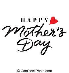 letras, feliz, mano, día, madres