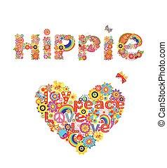 letras, flor, hippie, colorido, corazón, aislado, forma, plano de fondo, impresión, blanco